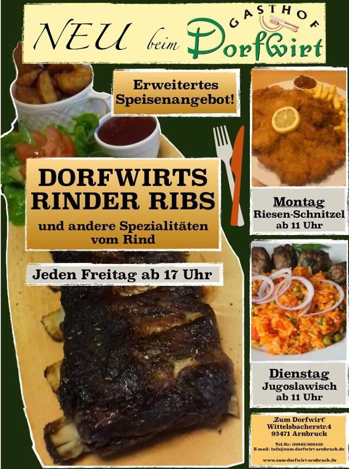 Erweitertes Speisenangebot im Dorfwirt in Arnbruck
